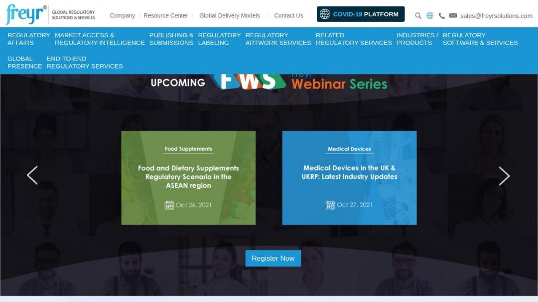 Screenshot of Freyr Solutions's Website
