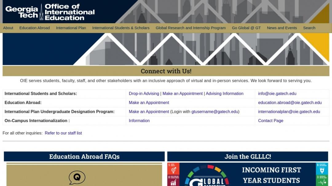 Screenshot of Georgia Institute of Technology's Website