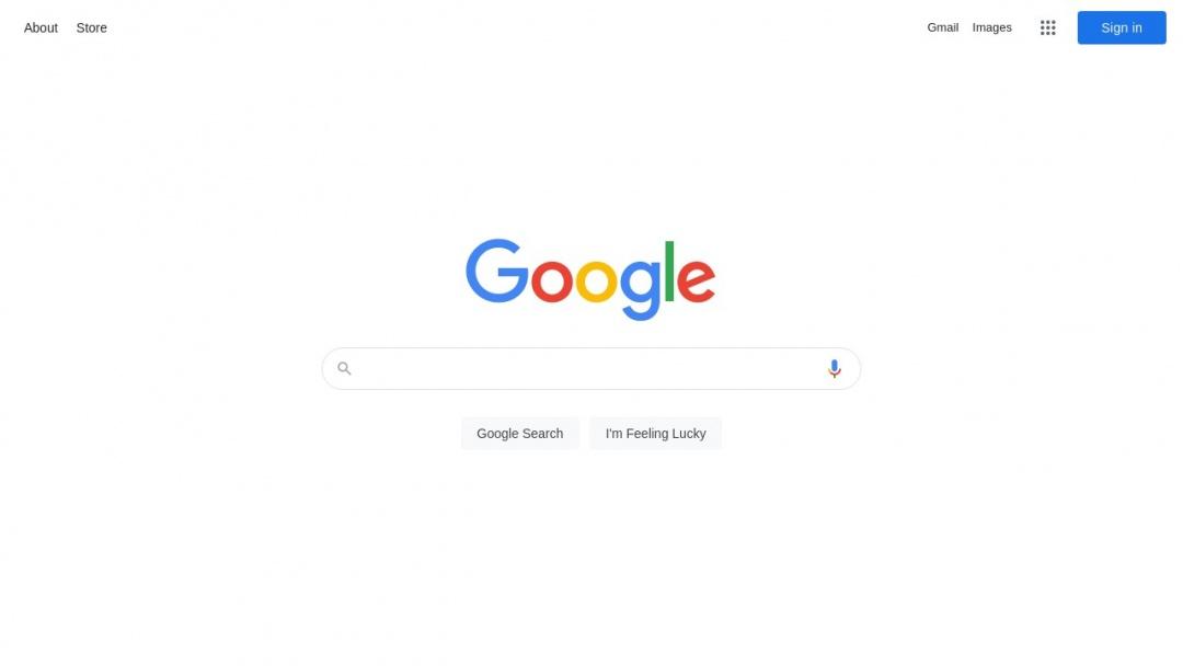 Screenshot of Google's Website
