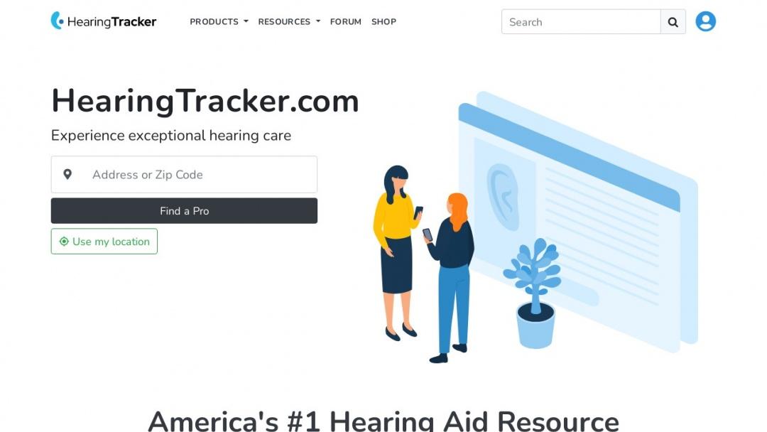 Screenshot of Hearing Tracker Inc.'s Website