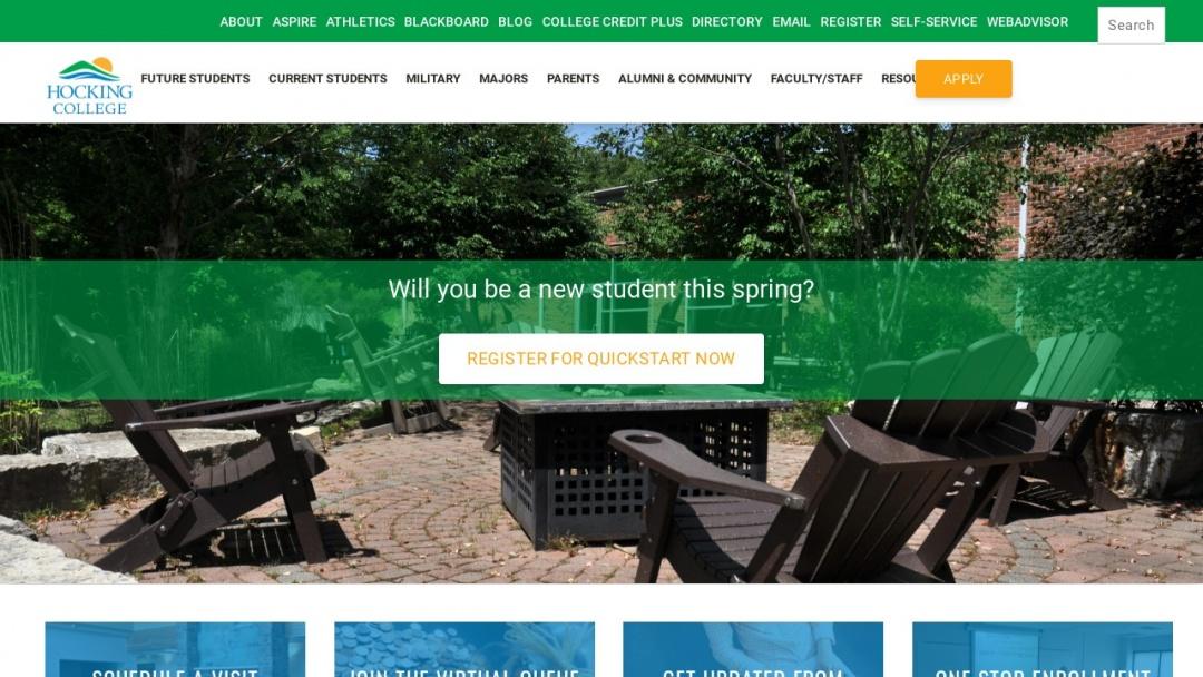 Screenshot of Hocking College's Website
