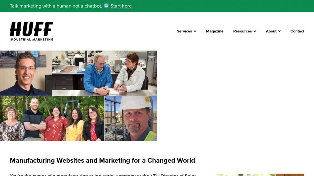 Screenshot of Huff Industrial Marketing Inc.'s Website