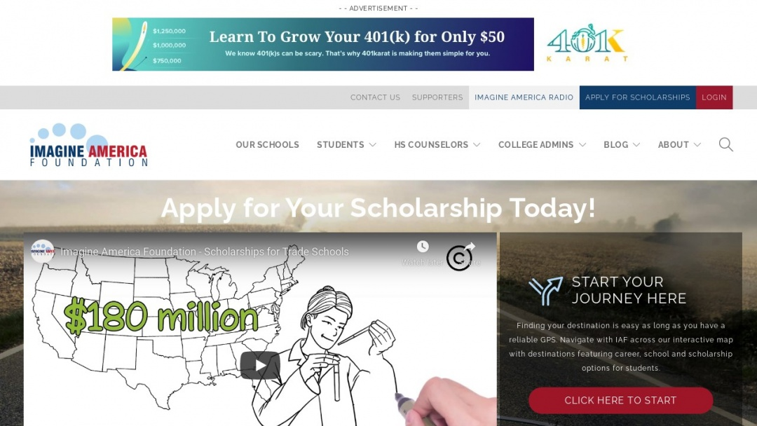 Screenshot of IMAGINE AMERICA FOUNDATION's Website
