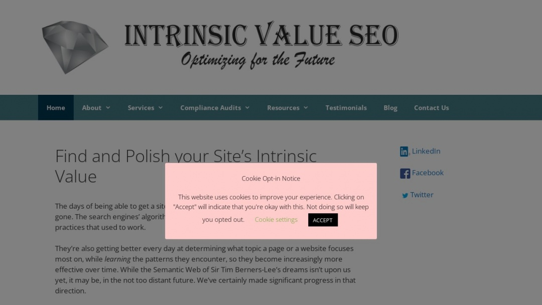 Screenshot of Intrinsic Value SEO's Website