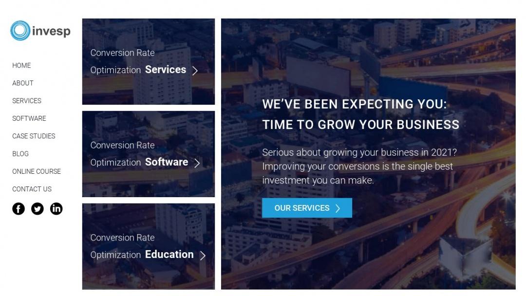 Screenshot of Invesp's Website
