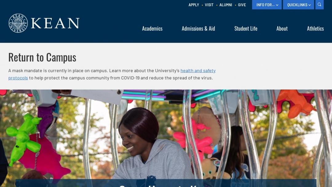 Screenshot of Kean University's Website