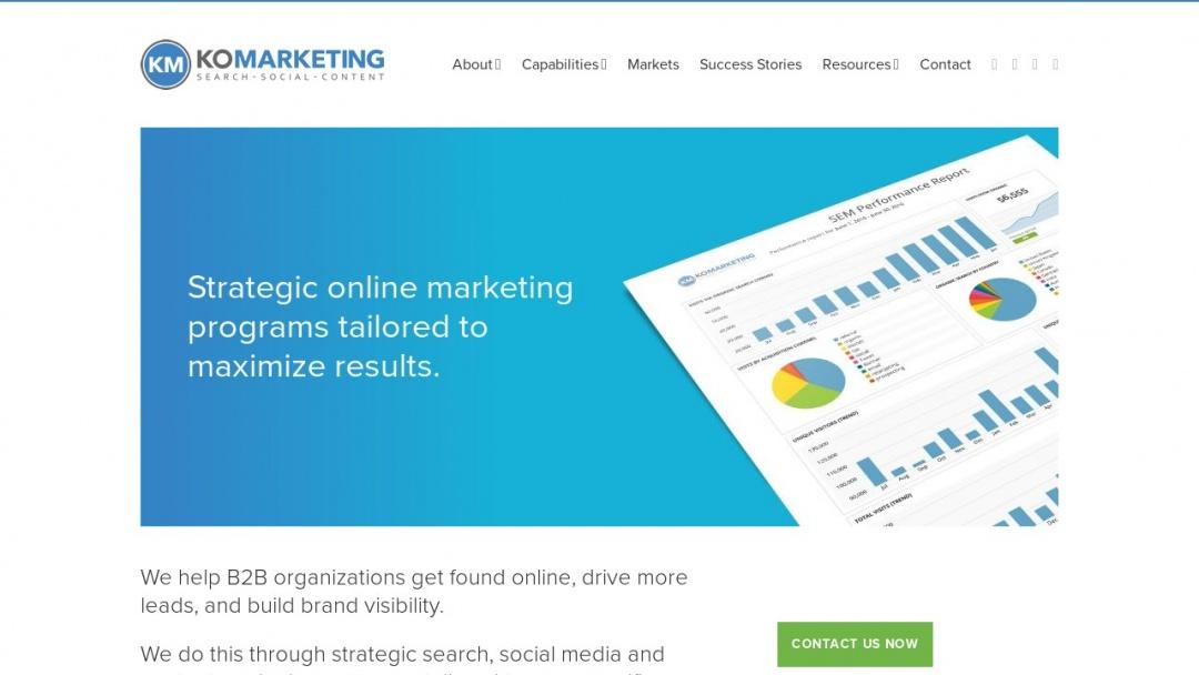Screenshot of KoMarketing Associates's Website