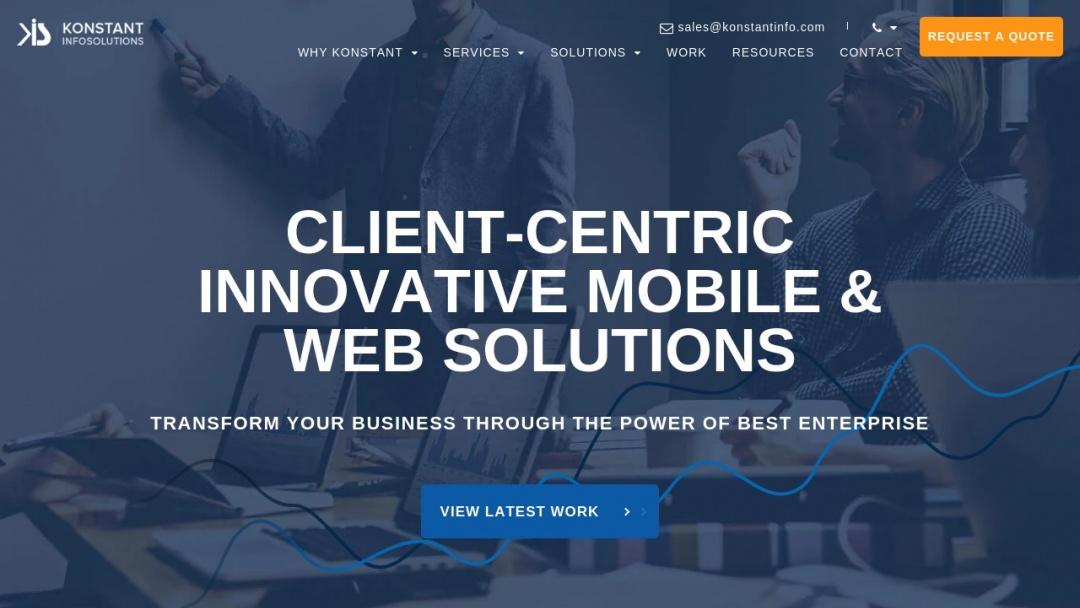 Screenshot of Konstant Infosolutions Pvt Ltd's Website