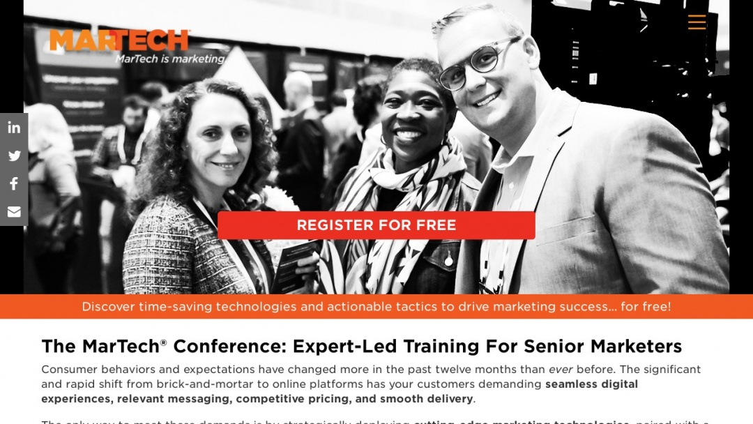 Screenshot of MarTech Conference's Website