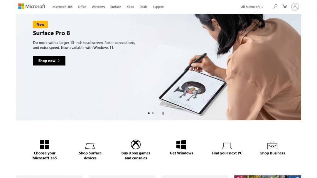 Screenshot of Microsoft's Website