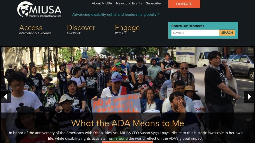 Screenshot of Mobility International USA's Website