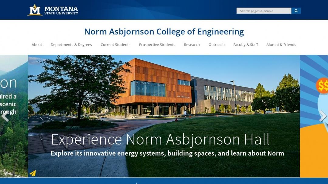 Screenshot of Montana State University's Website