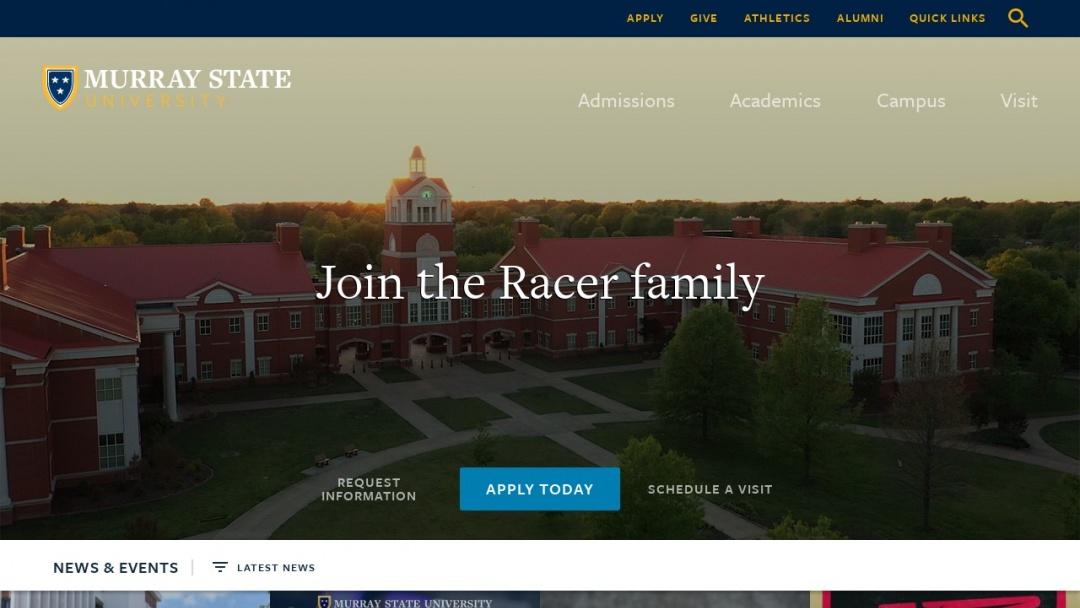 Screenshot of Murray State University's Website
