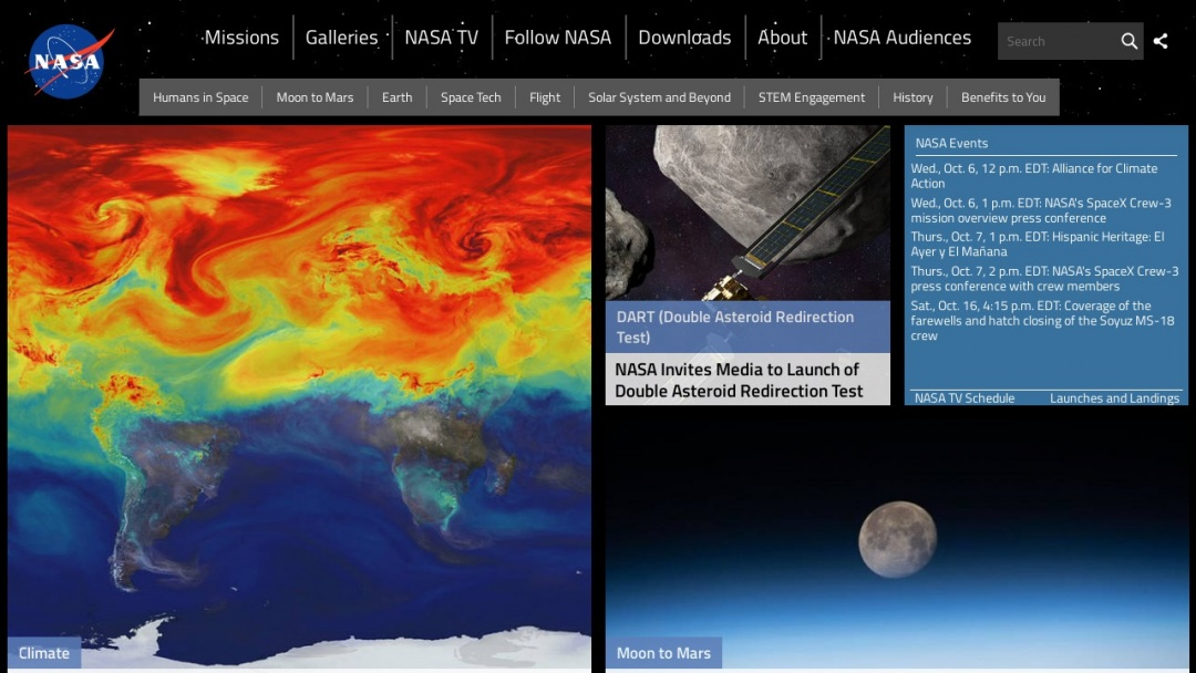 Screenshot of NASA's Website
