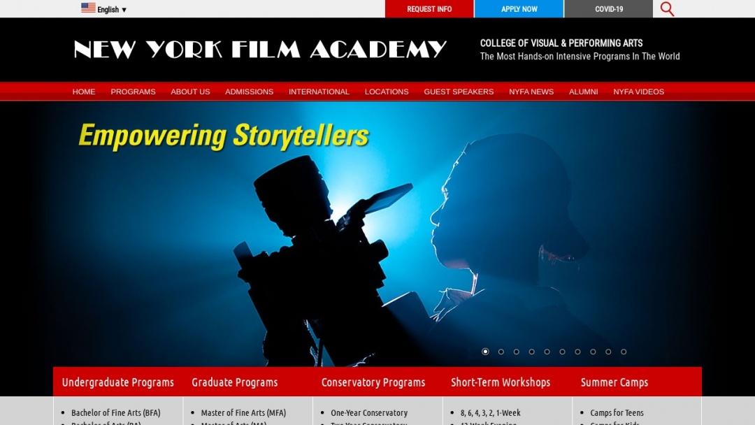 Screenshot of New York Film Academy's Website