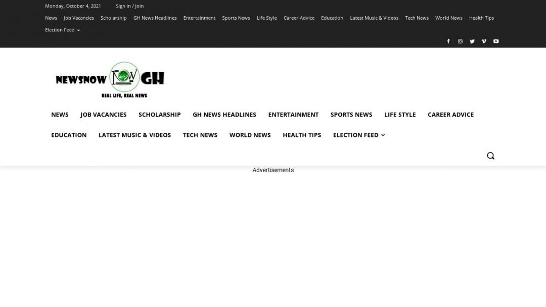Screenshot of Newsnowgh.com's Website