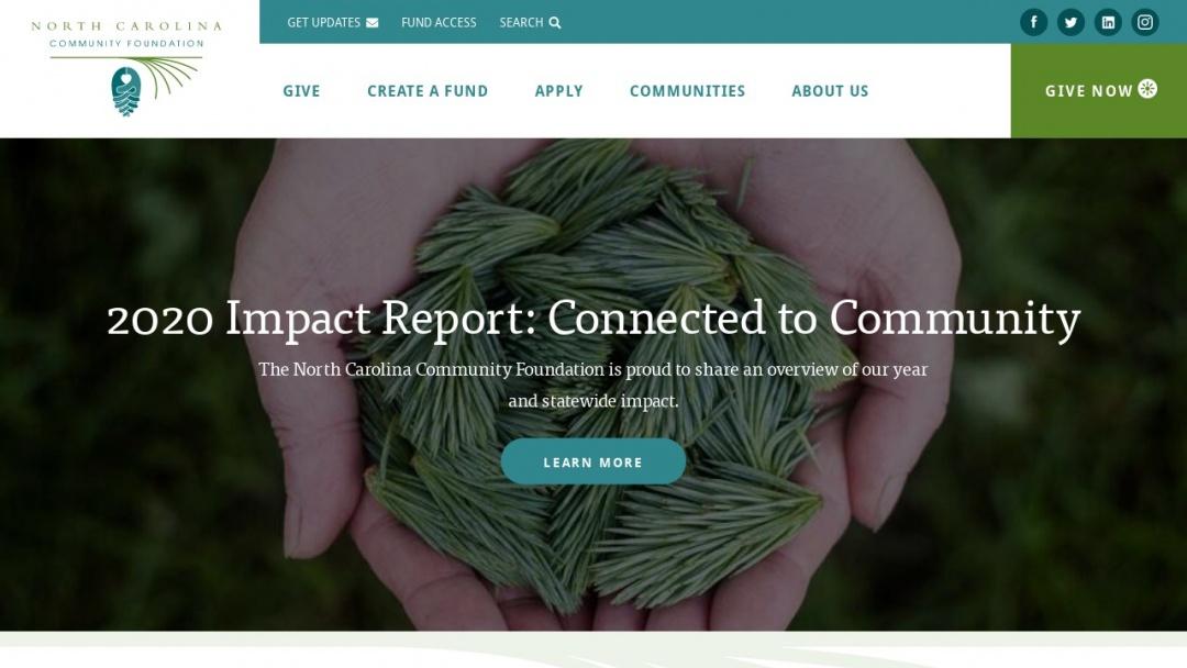 Screenshot of North Carolina Community Foundation's Website