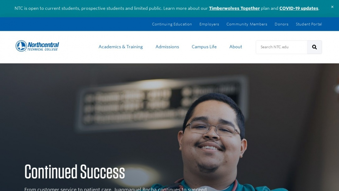 Screenshot of Northcentral Technical College's Website