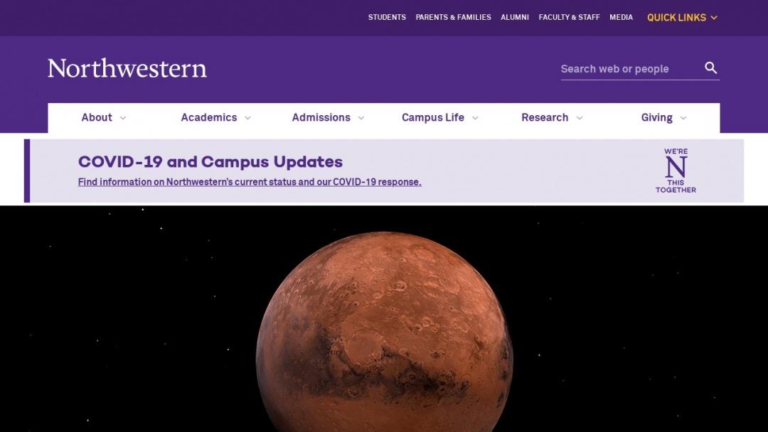 Screenshot of Northwestern University's Website