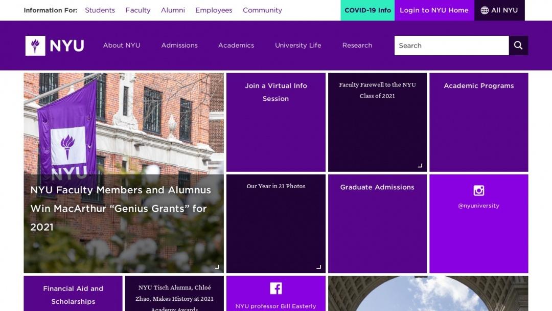 Screenshot of NYU college's Website