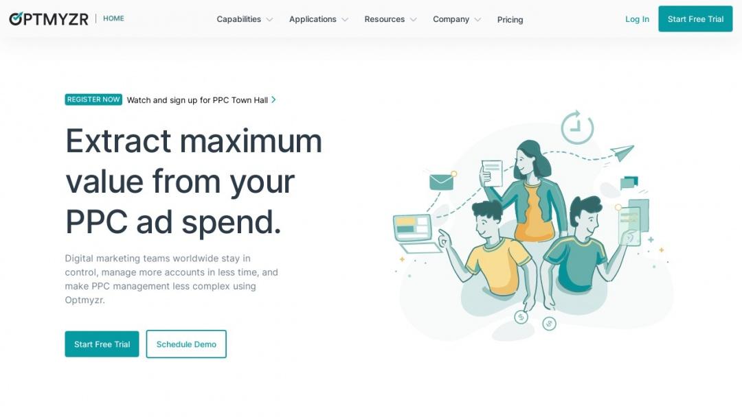 Screenshot of Optmyzr's Website