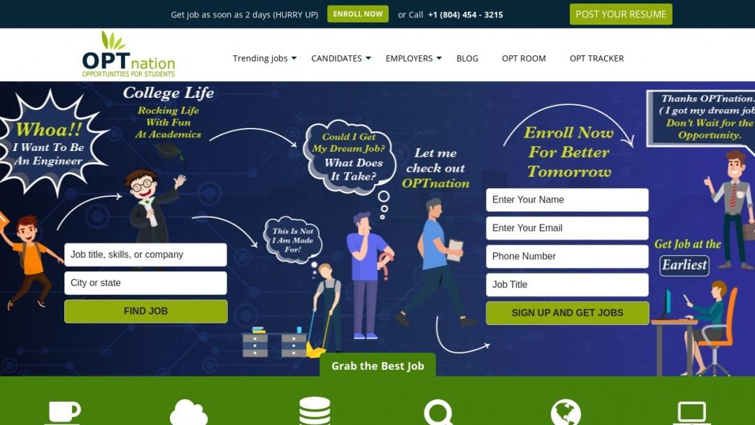 Screenshot of OPTnation's Website