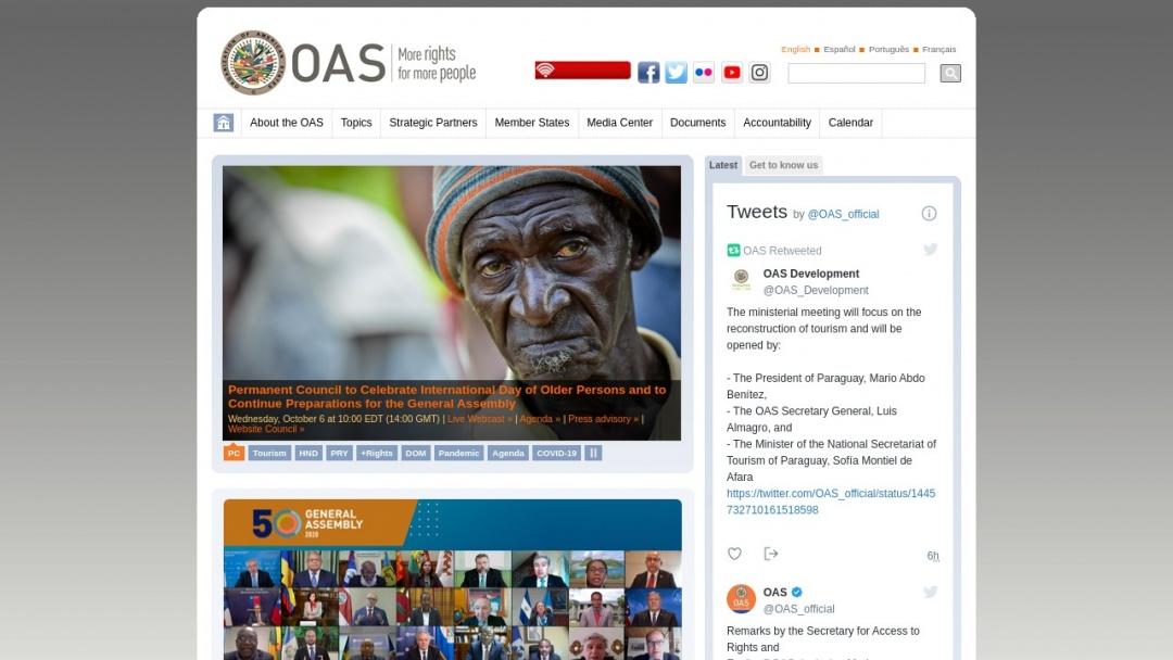 Screenshot of Organización de los Estados Americanos's Website