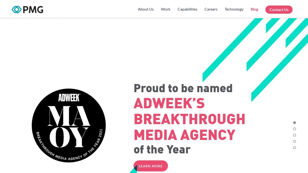 Screenshot of PMG Digital Agency's Website
