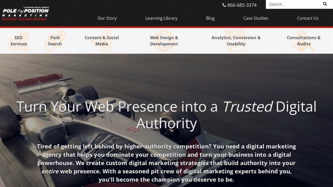 Screenshot of Pole Position Marketing's Website