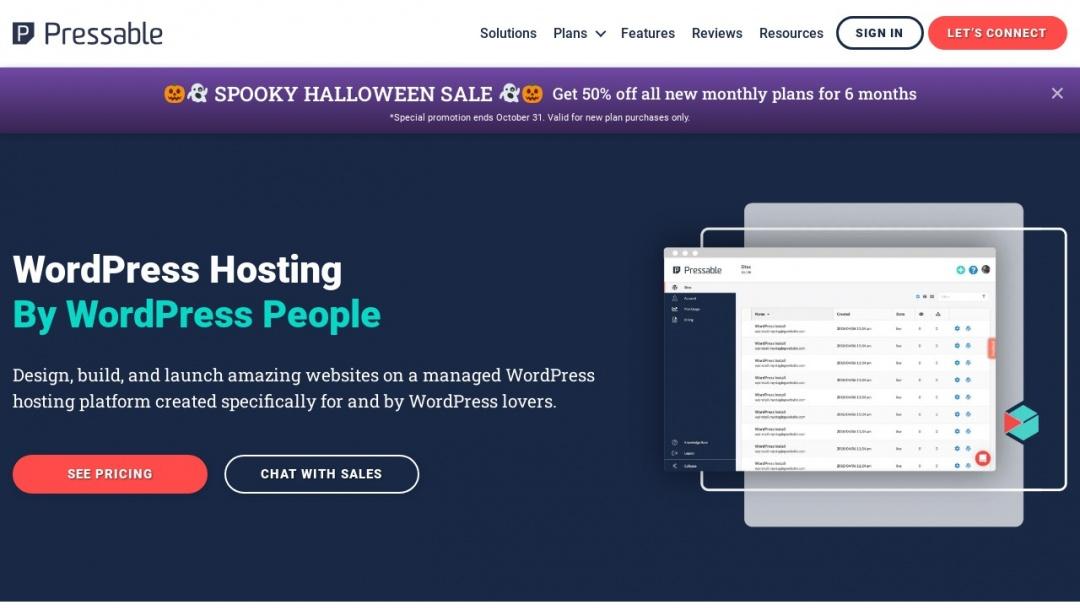 Screenshot of Pressable's Website