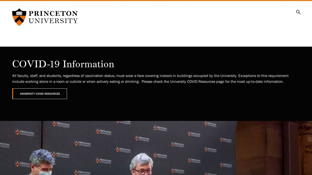Screenshot of Princeton University's Website