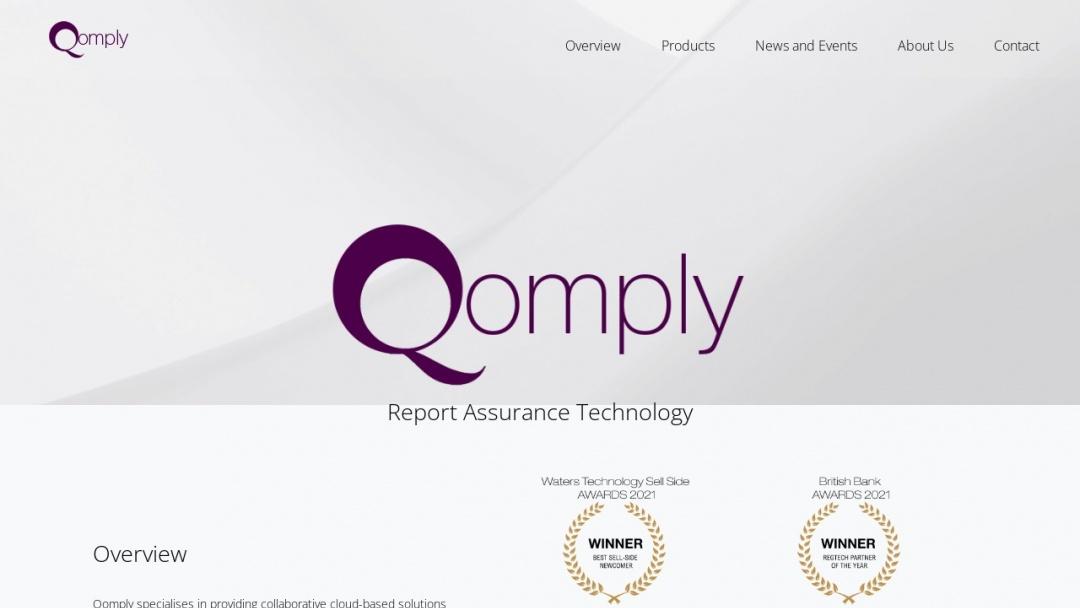 Screenshot of Qomply's Website