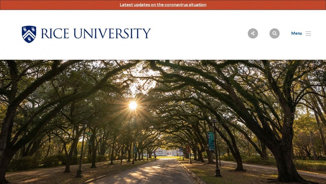 Screenshot of Rice University's Website