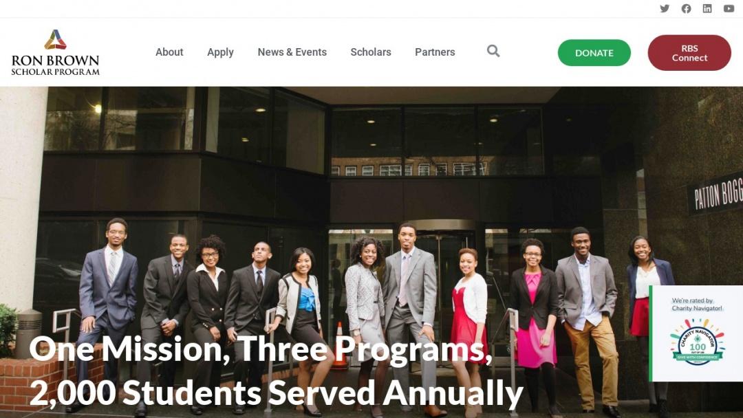 Screenshot of Ron Brown Scholar Program's Website