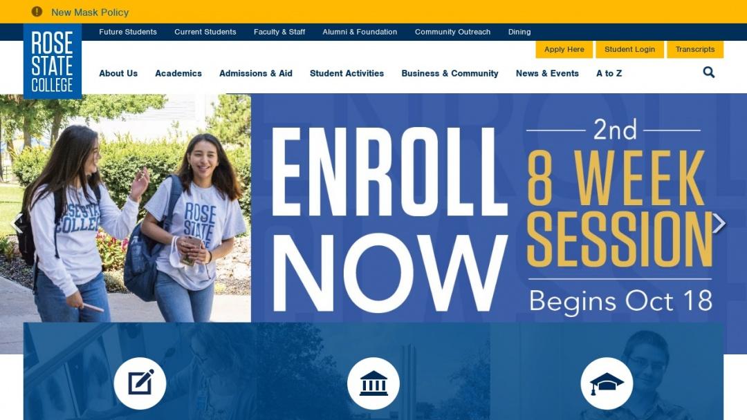 Screenshot of Rose State College's Website