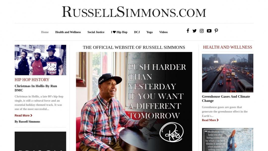 Screenshot of Russel Simmons's Website