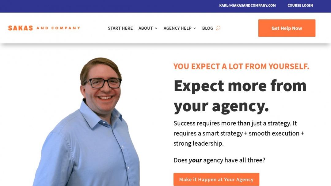 Screenshot of Sakas & Company's Website