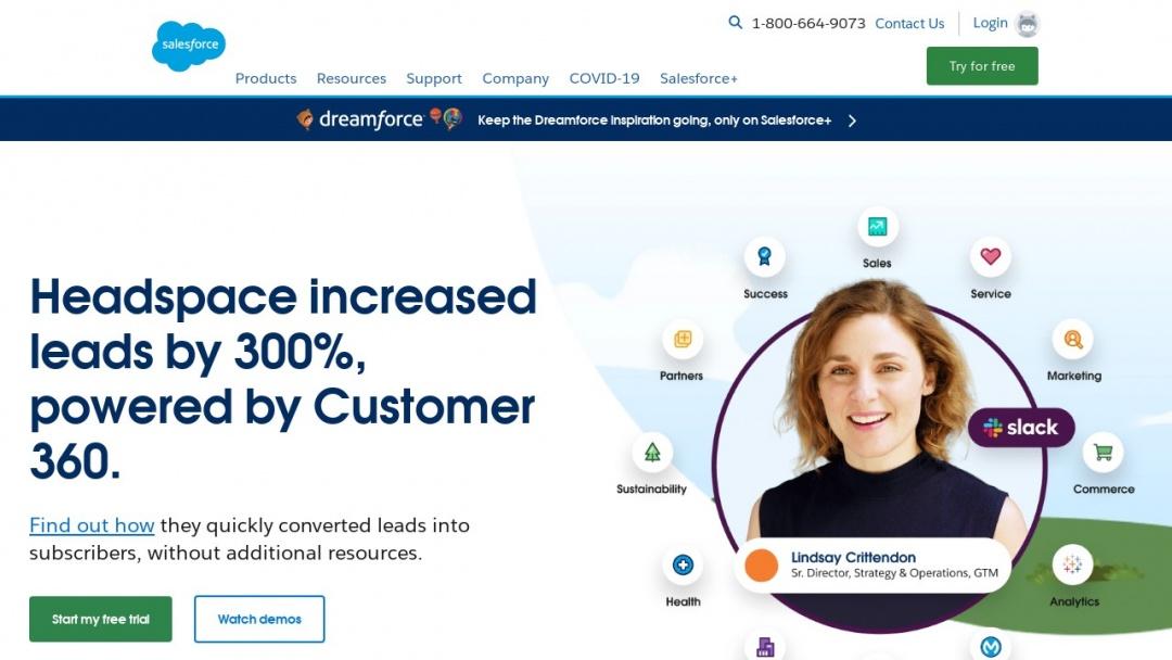 Screenshot of Salesforce's Website