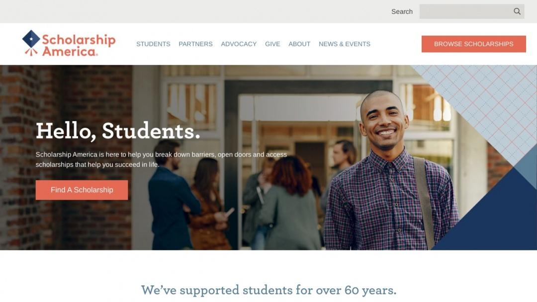 Screenshot of Scholarship America's Website