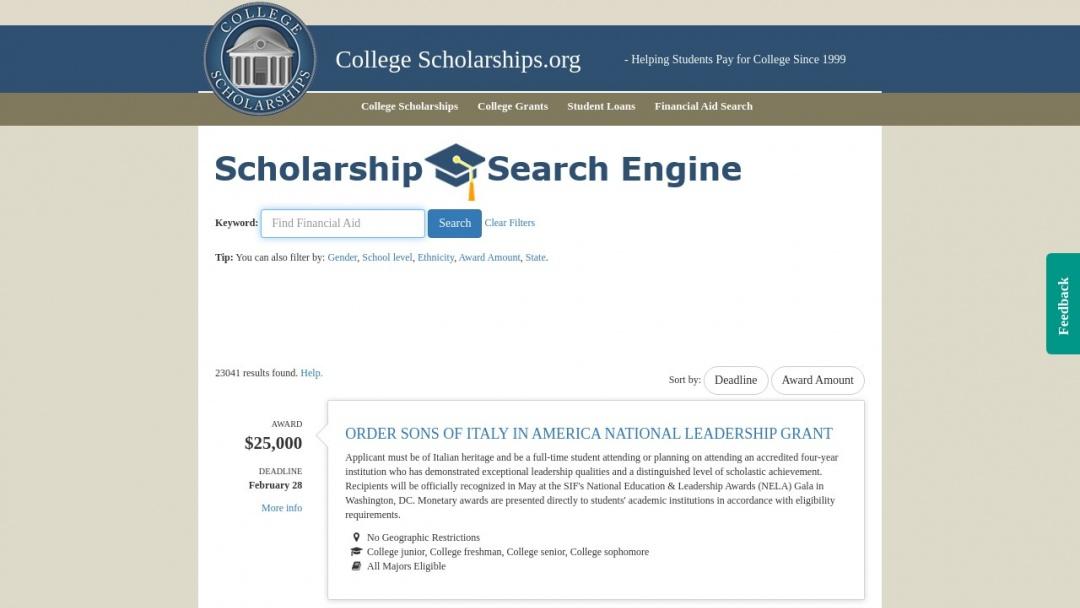Screenshot of scholarship's Website