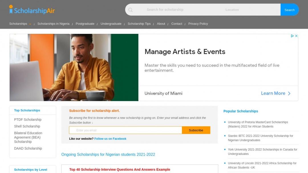 Screenshot of scholarshipair.com's Website