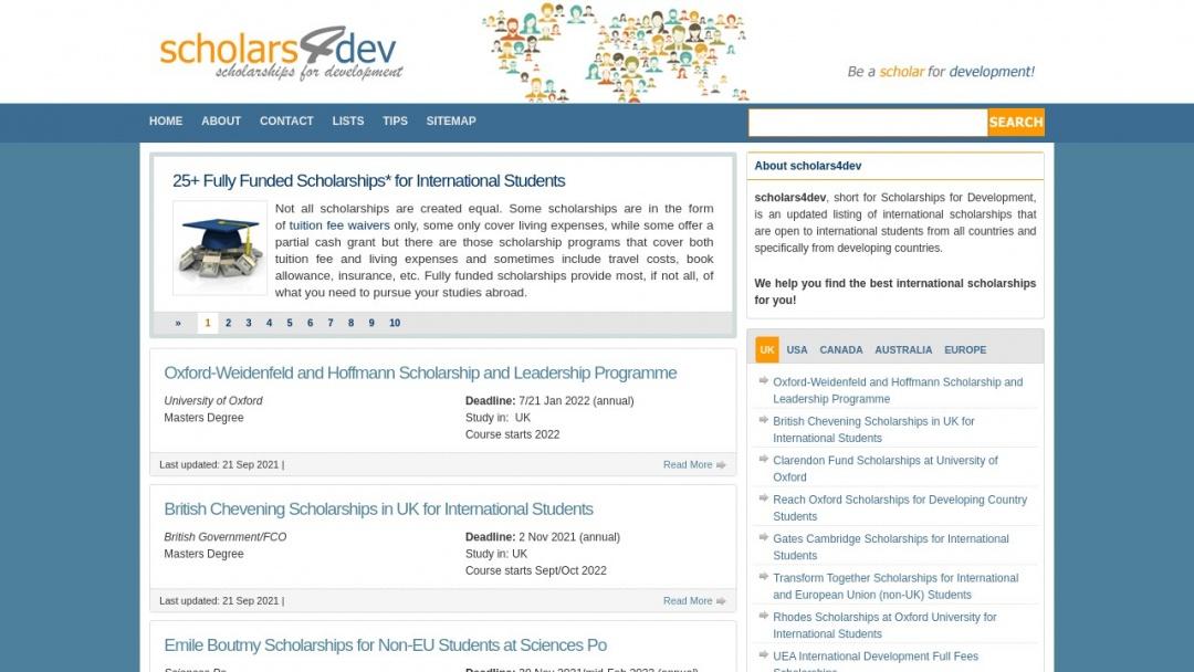 Screenshot of Scholarships for Development's Website