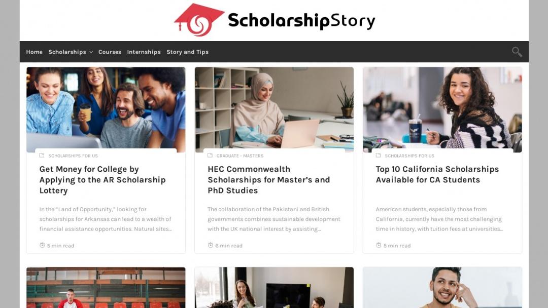 Screenshot of scholarshipstory.com's Website