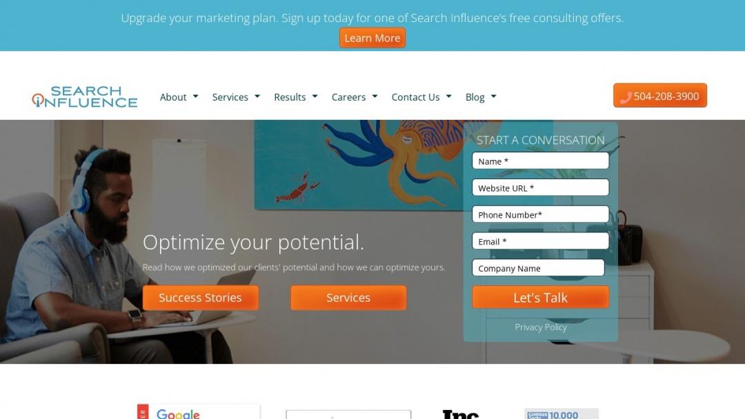 Screenshot of Search Influence's Website