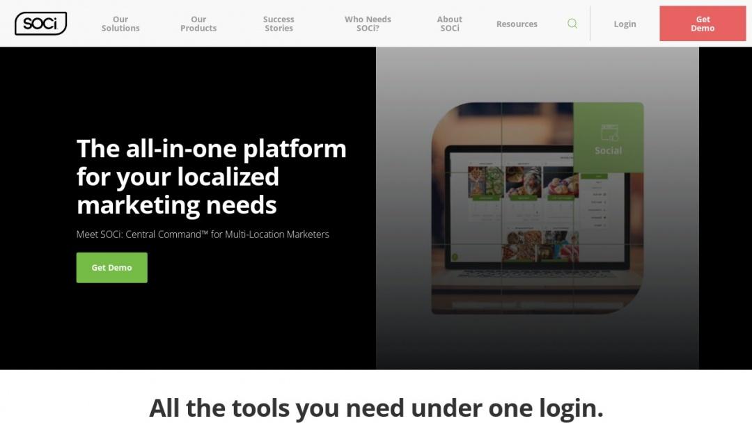 Screenshot of SOCi Inc.'s Website