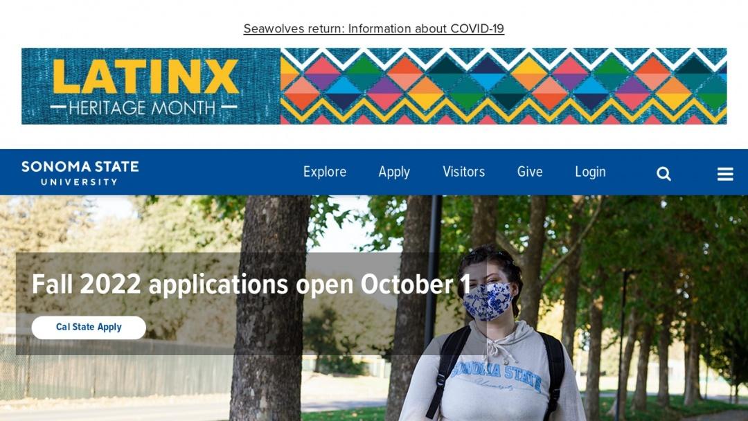 Screenshot of Sonoma State University's Website