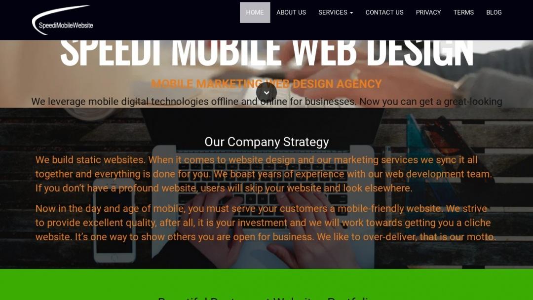 Screenshot of SpeediMobileWebsite's Website