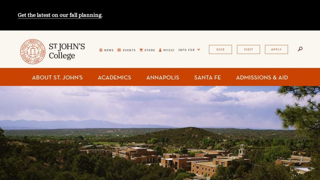 Screenshot of St. John's College's Website