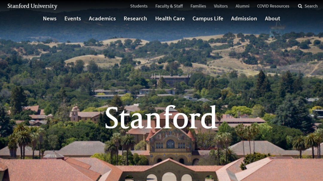 Screenshot of Stanford University's Website