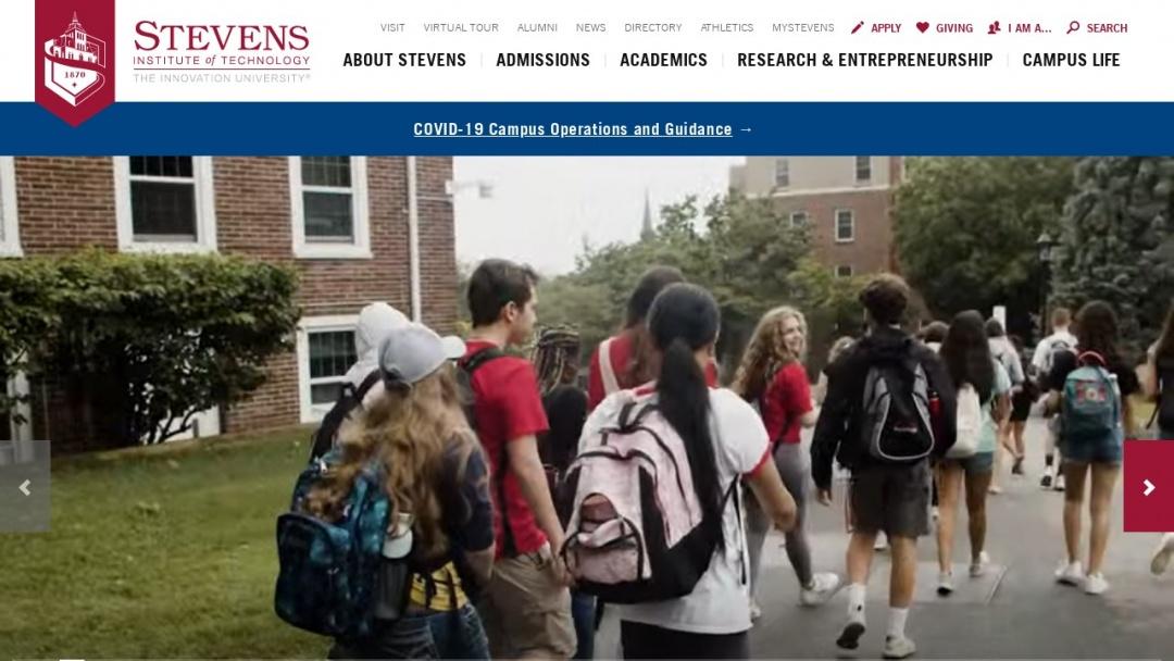 Screenshot of Stevens Institute of Technology's Website